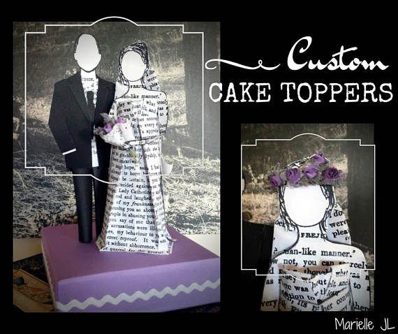 Novios personalizados para tarta de boda, figuras de novios de papel, un regalo de boda original, creaciones de Marielle JL