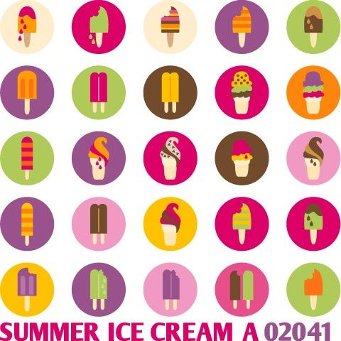Summer Ice Cream A 02041  Printable Circle by blessedgrafik