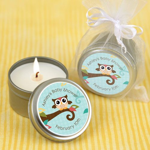 Owl - Look Whooo's Having A Baby - Candle Tin Personalized Baby Shower Favors...cute idea!