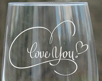 etched wine glasses Monogram wine glass wedding by StoneEffectsMD