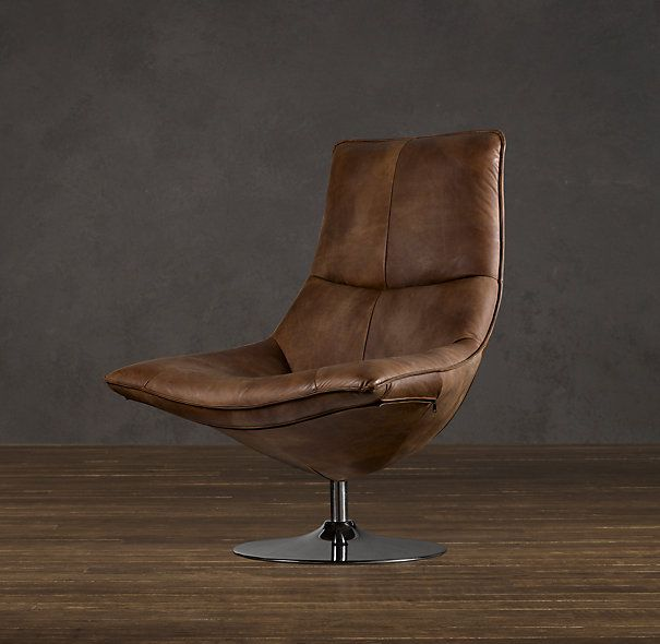 HOPPER BUCKET CHAIR  in Distressed Whiskey/Restoration Hardware... Merging mid-century style with sink-in comfort, this chair sets leather-clad contours atop a polished metal pedestal base. It swivels 360 degrees, for ease of conversation or efficiency of work.