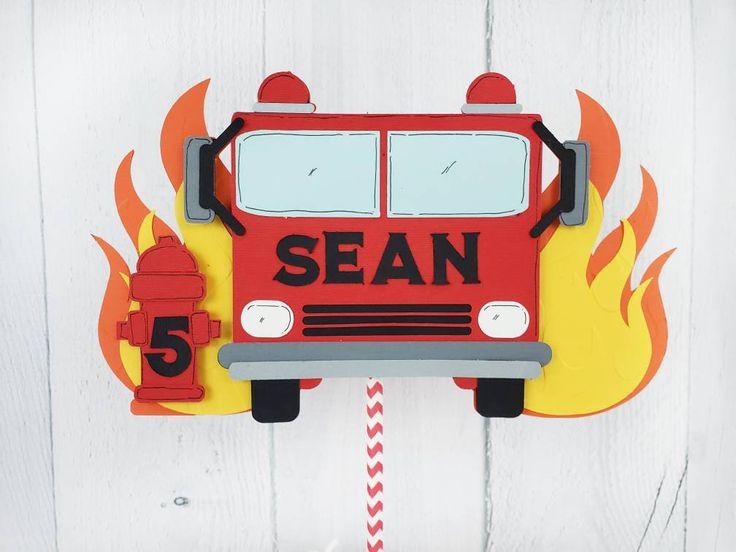 Fire Truck Cake Topper | Fire truck party, Firetruck ...