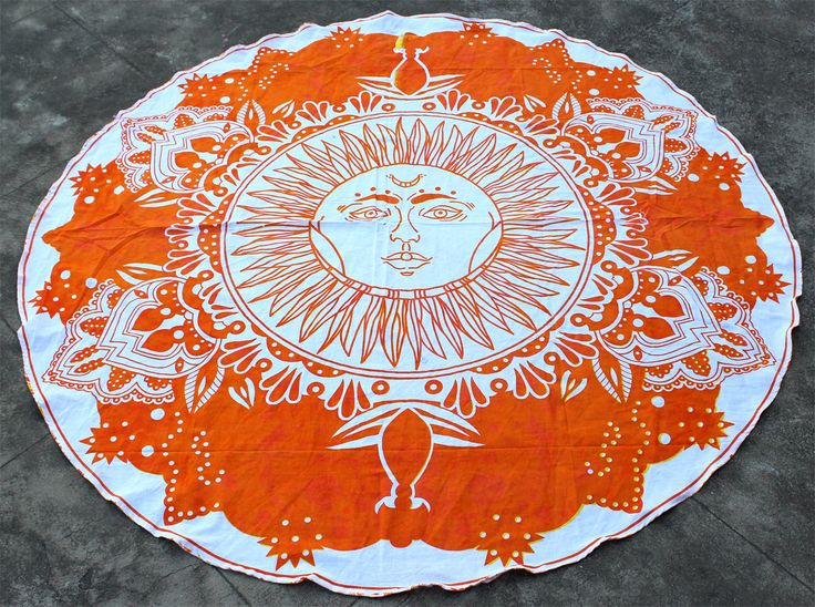 Orange Round Sun Tapestry Madnala Beach Throw