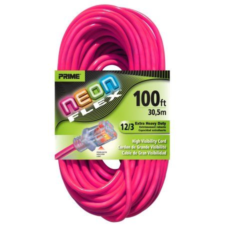 Prime Wire & Cable NS513835 100 Feet 12/3 Sjtw Flex High Visibility Extra Heavy Duty Outdoor Extension Cord with Prime Wire & Cable light Indicator Light, Neon Pink, 3 Pack
