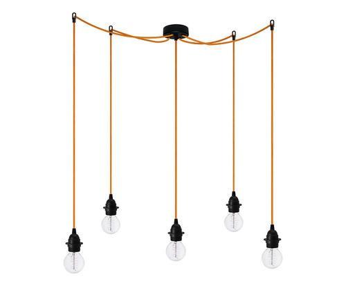 lampadario arancione : Lampadario con 5 luci uno nero/arancione 150 Colore portalampada nero ...