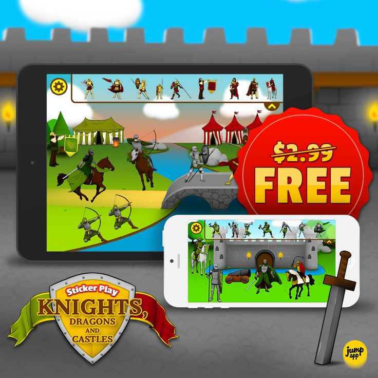 """""""Sicker Play:Knights, Dragons and Castles"""" #iPhone #iPad #kids #app is #FREE for a limited time! Enjoy. https://itunes.apple.com/us/app/sticker-play-knights-dragons/id836195612"""