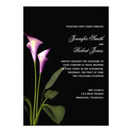 This Beautiful Design Is Modern But Has A Clic Touch Called Pink And Purple Calla Lily Wedding It Simple Black Background