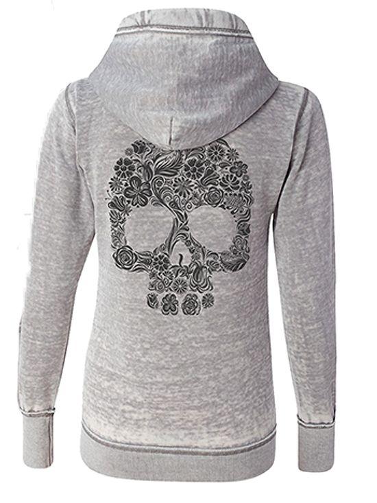 """Women's """"Floral Skull Sketch"""" Zip Up Hoodie by Fifty5 Clothing (Grey) #InkedShop #skull #Hoodie #Loungewear #cute #womens"""