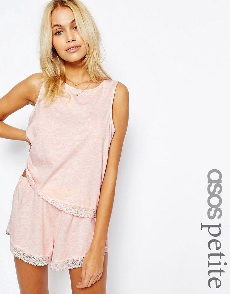 ASOS+PETITE+Lace+Trim+Vest+&+Short+Pyjama+Set