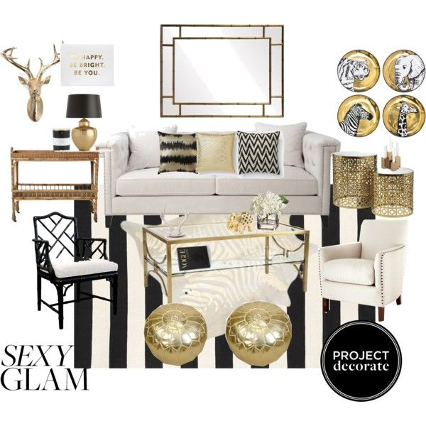 168 best home mood boards images on Pinterest Living room ideas - black white and gold living room ideas