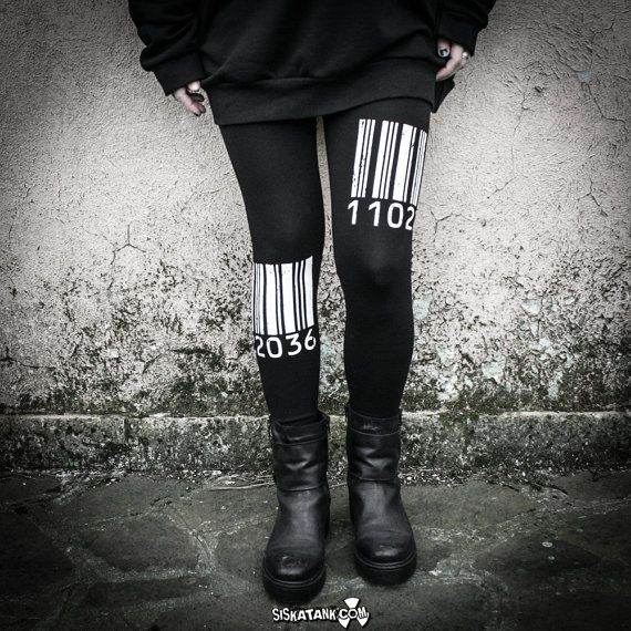 BARCODE - Leggings stampati con Codice a Barre Bianco Fuseaux Industrial Post Punk Moda Alternativa Dystopia Grunge