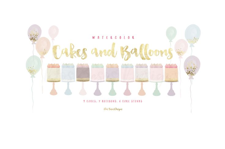 Watercolor Cakes And Balloons Clipart, Meringue Cakes, Confetti Balloons, Cake Stands, Pastel Watercolor Cakes And Balloons Clipart Set by DosBesosDesigns on Etsy
