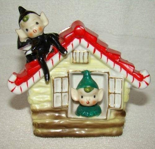Adorable Vintage Christmas Elf / Pixie Candy Cane House
