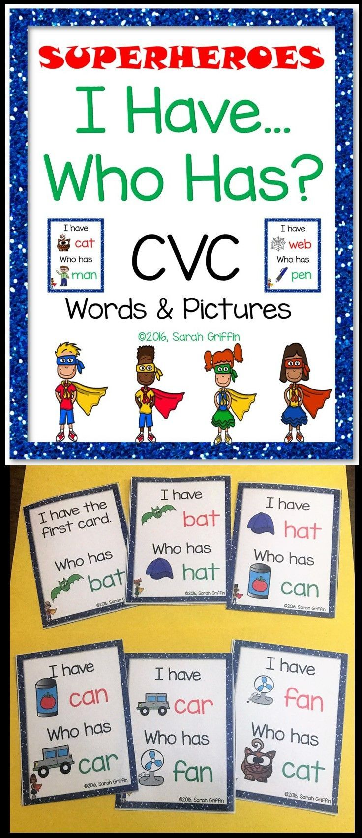 I Have Who Has | CVC reading game | card games | class games | superheroes | kindergarten | first grade | ELA | vowels |