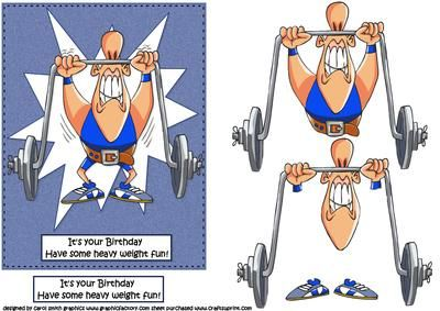 CUP495884_1209 - a decoupage sheet for the guys especially those who enjoy weightlifting ha a cartoon weightlifter lifting his weights with ...