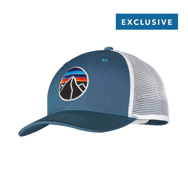 The Patagonia Fitz Roy Emblem Trucker Hat Features A