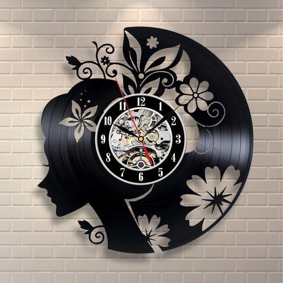 Girls Vinyl Record Wall Clock Art Birthday Decoration Xmas Room Decor Gift Women