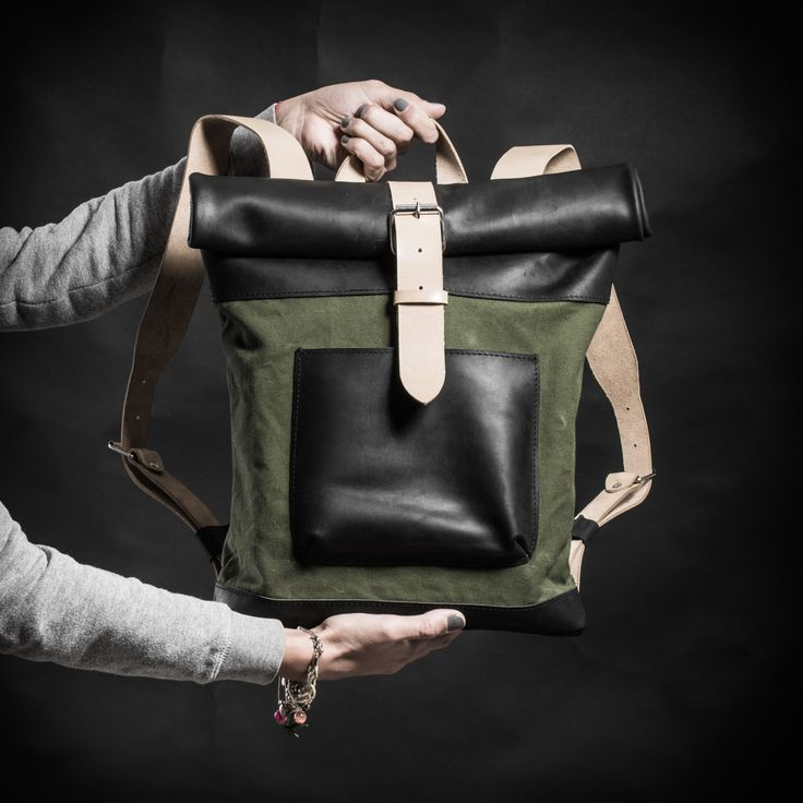Canvas and leather woman backpack with vintage upcycled elements by Kruk Garage /Roll top backpack made of British army duffle bag by KrukGarage on Etsy