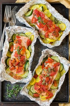 Salmon and Summer Veggies in Foil FoodBlogs.com