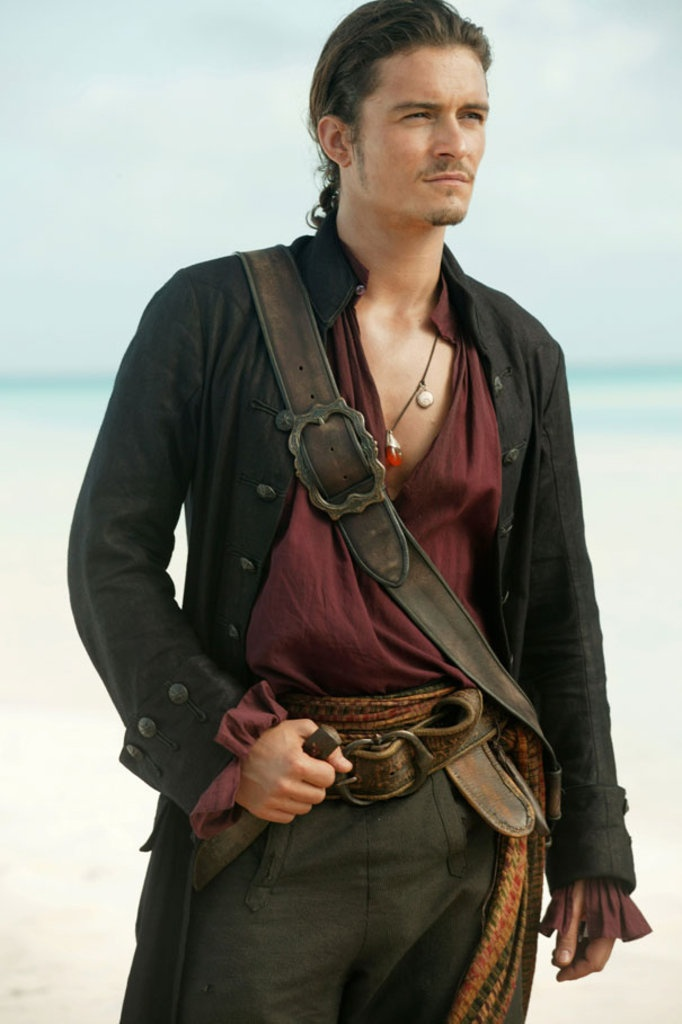 Will Turner (Pirates of the Caribbean 3). Love the red shirt.