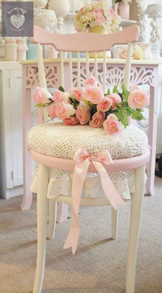 Love The Idea Of Using A Large Doily For A Chair Seat, And Not Trimming. Shabby  Chic ChairsShabby ...