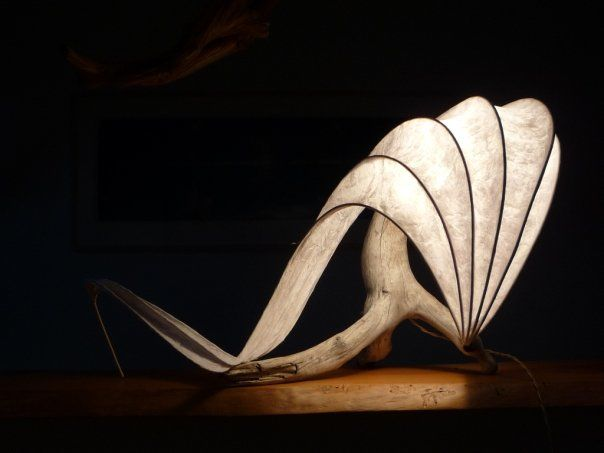 One of my first lightsculptures (handmade table lamp in driftwood, reeds, paper & resin).