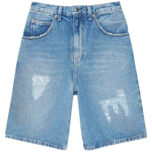 J.W.Anderson Distressed Denim Shorts ($370) ❤ liked on Polyvore featuring men's fashion, men's clothing, men's shorts, mens ripped shorts, mens striped shorts, faded glory men's shorts, mens jean shorts and mens distressed denim shorts