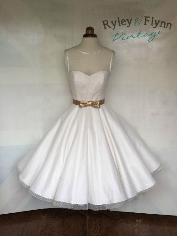 The Dotty tea length wedding dress by RyleyandFlynnVintage on Etsy