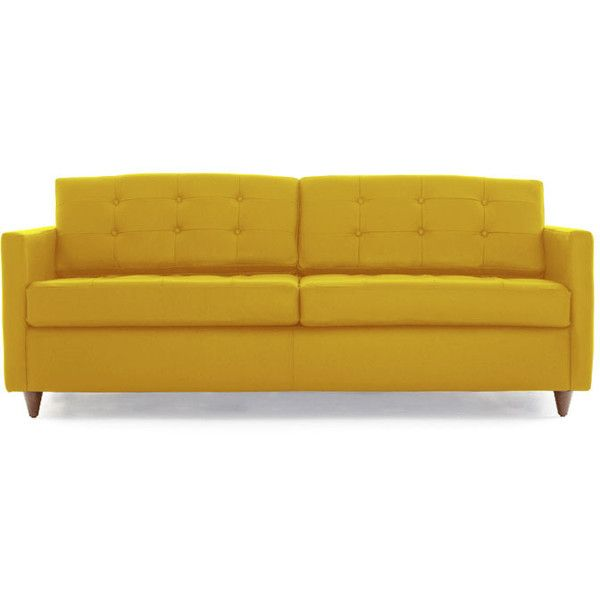 Joybird Eliot Mid Century Modern Yellow Leather Sleeper Sofa (77.265.915 IDR) ❤ liked on Polyvore featuring home, furniture, sofas, yellow, yellow couch, mid century modern sofa, leather sleeper sofa, mid century leather couch and leather couch