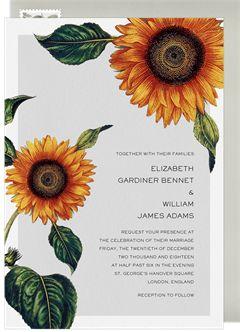 Elegant Sunflowers Invitation in White