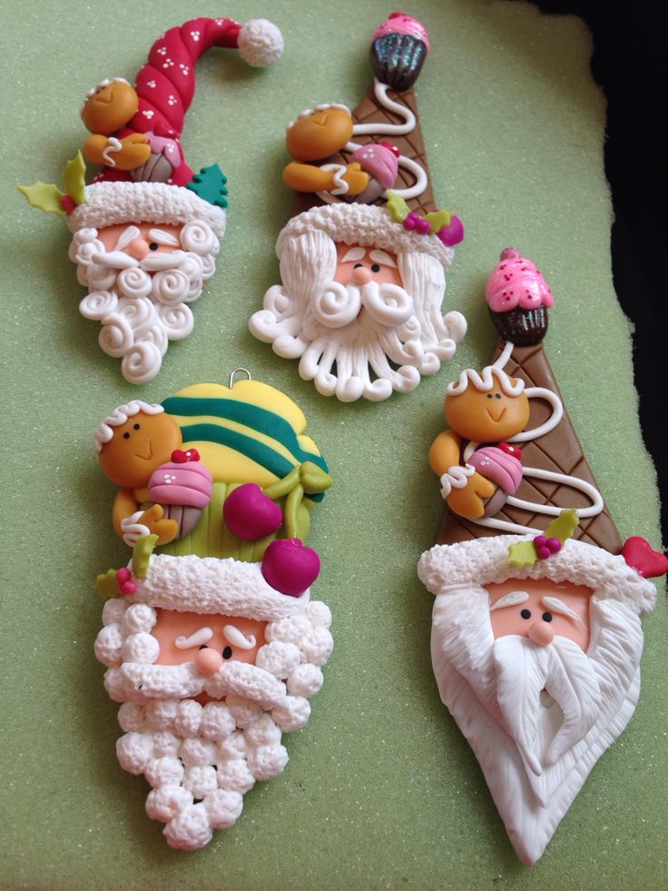 Santa.papa Noel, masa flexible.polymer clay,crafts,doll.navidad. Imanes