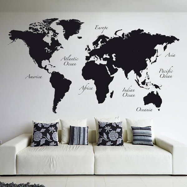 Black World Map (De Crearreda Wallstickers)