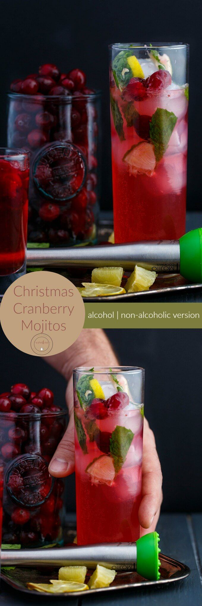 Christmas Cranberry Mojitos |  http://thecookiewriter.com | @thecookiewriter | #drinks | A wonderful holiday beverage that can be made with or without alcohol! These mojitos are also perfect for New Years!