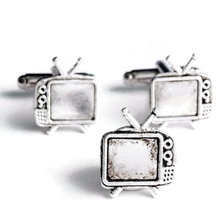 Silver Television Cuff Links & Tie Tack- Men's Handcrafted Retro TV Cufflinks Set- Guys Gift Wedding Groom Prom by Lynx2Cuffs on Etsy
