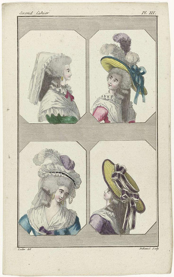 A.B. Duhamel | Cabinet des Modes ou les Modes Nouvelles, 2e Cahier, 1 décembre 1785, Pl. III, A.B. Duhamel, Buisson, 1785 | De begeleidende tekst vermeldt: Linksboven: muts van tule, 'à la Jannette'. Fichu van 'gaze d'Italie', 'à la Henri IV', dichtgeknoopt met een roze lint. Japon van groen satijn of 'satin gros vert'. De oorbellen zijn ' plaquettes'. Rechtsboven: hoed 'à la Marlborough', waarop twee witte veren en één paarse veer; versierd met blauwe linten. Fichu van 'gaze d'Italie', 'à…