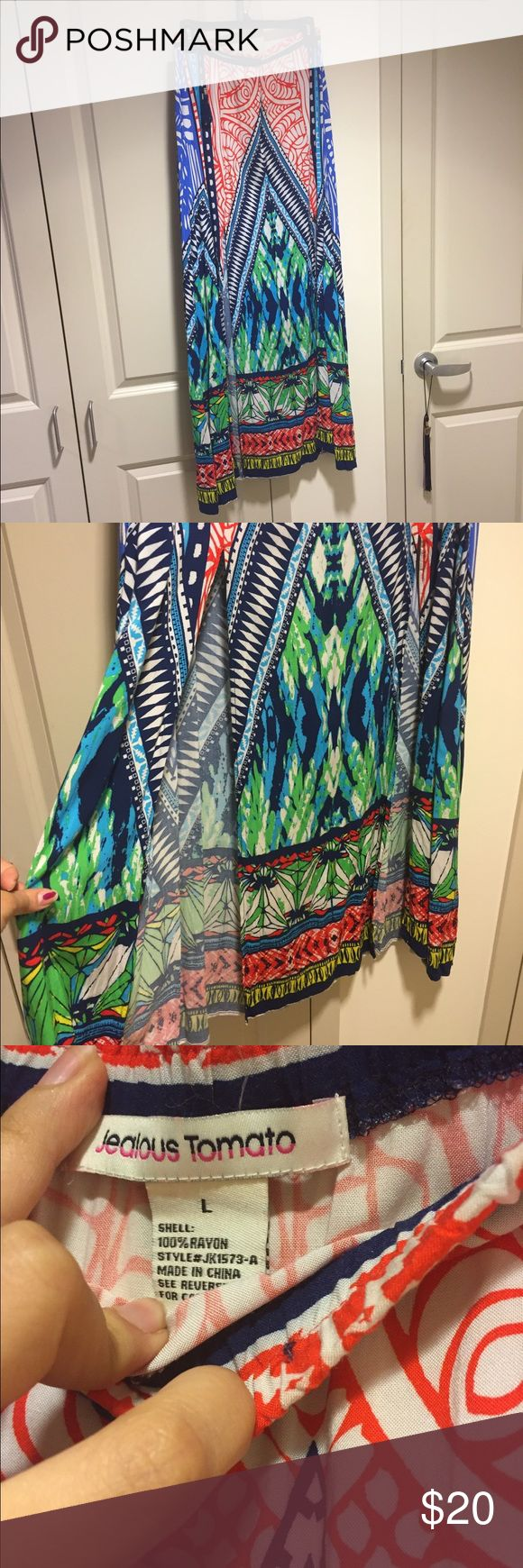 Tribal Print Maxi Only worn once. Great maxi skirt for summer or vacation. Size L. Jealous Tomato Skirts Maxi