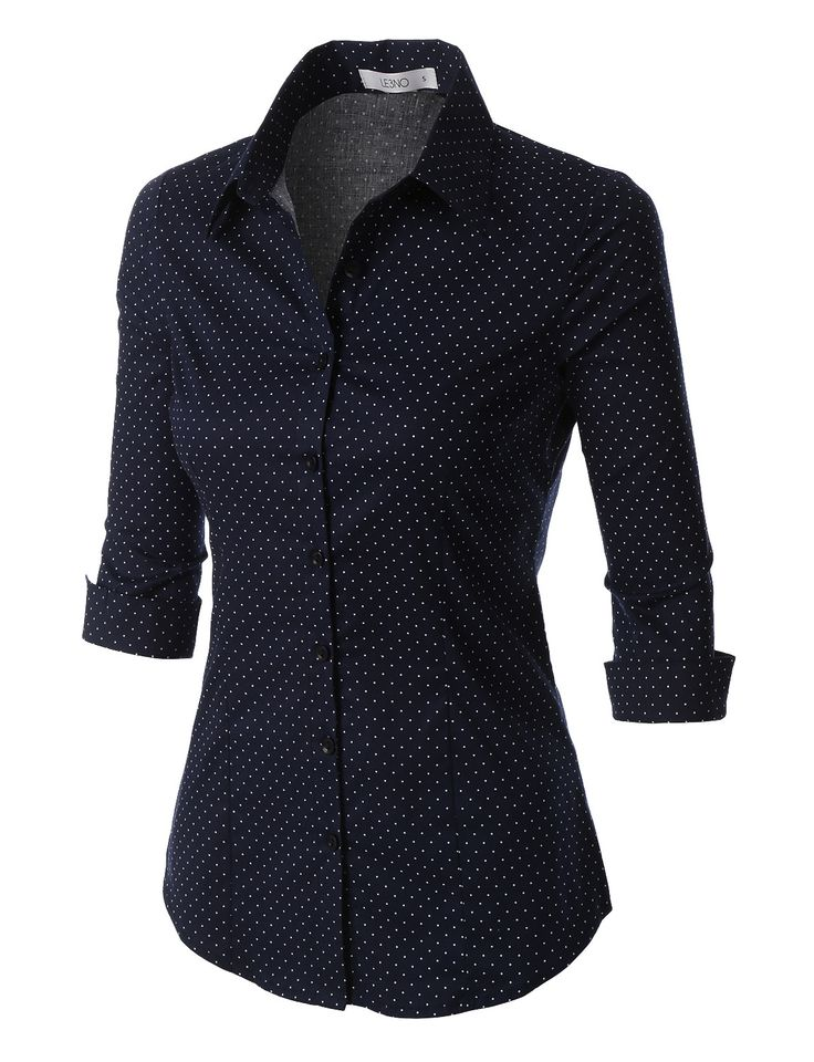 Whatever the occasion is, this polka dots button down 3/4 sleeve tailored shirt will be a perfect fit. This comfortable wash-and-wear shirt is indispensable for the workday. Feature - 97% Cotton / 3%