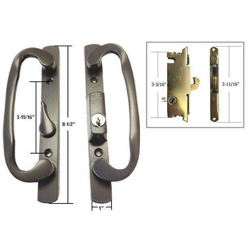 stb sliding glass patio door handle set with mortise lock bronze keyed 3 15 16 quot holes