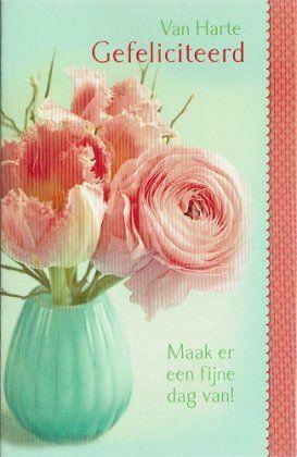 Van harte gefeliciteerd kaartje met zalm rose bloemen