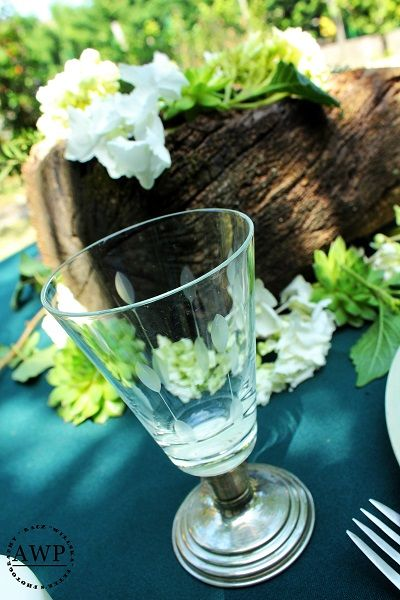 special glass with leaves