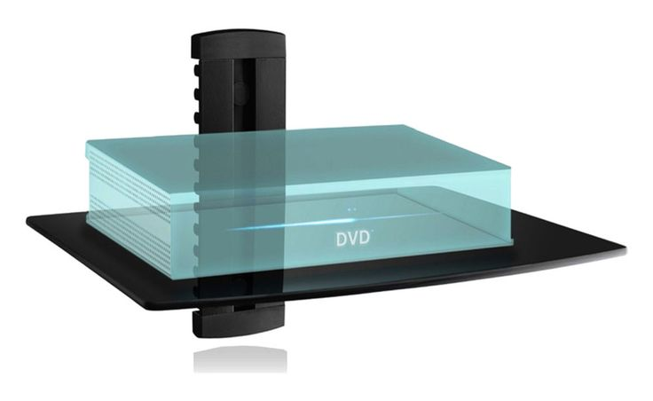 Wall Mounted Shelf TV Accessory Component System CD DVD Player Cable Box Glass #WALI #Contemporary