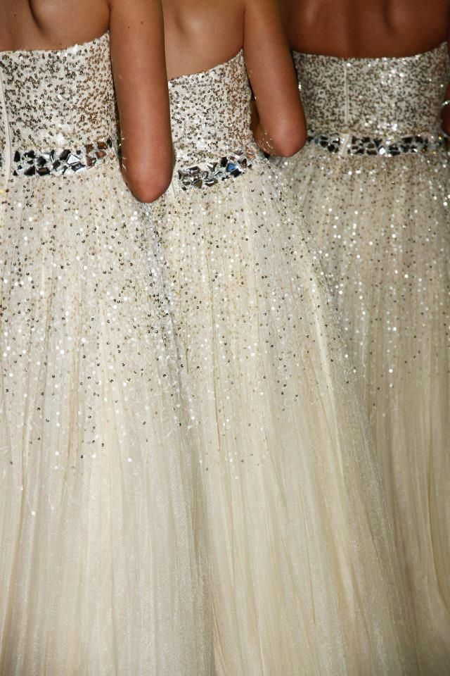 Bridesmaid dresses with silver sequins and rhinestones... a stunning statement for your formal wedding!