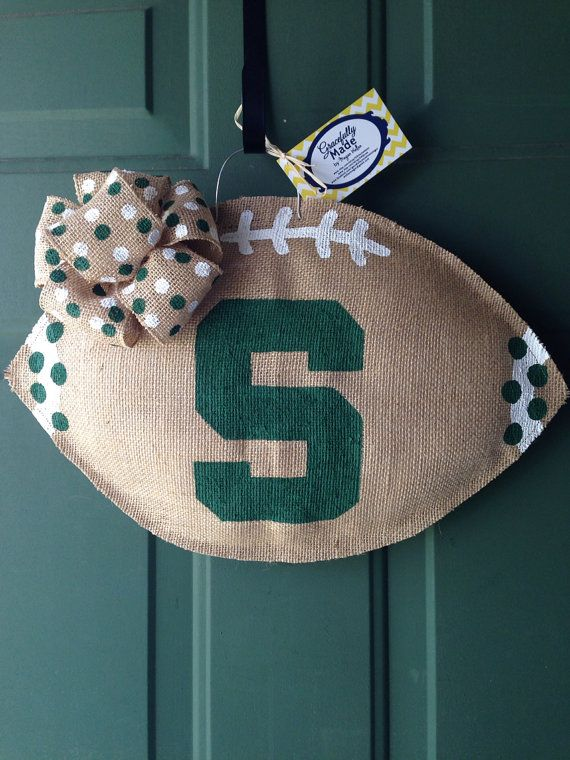 MADE TO ORDER - Michigan State Burlap Football - Michigan State University Wreath - Burlap Door Hanger - Burlap Football on Etsy, $30.00