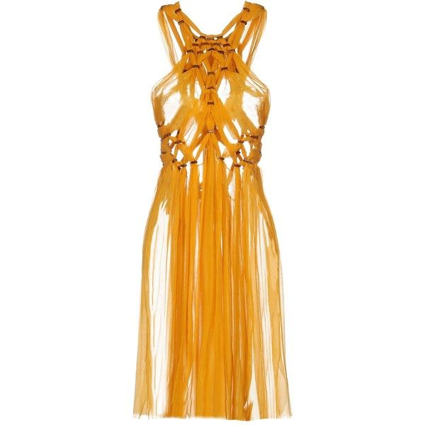 Alberta Ferretti Knee-length Dress ($1,170) ❤ liked on Polyvore featuring dresses, ocher, alberta ferretti, orange sleeveless dress, sleeveless dress, alberta ferretti dress and knee length dresses