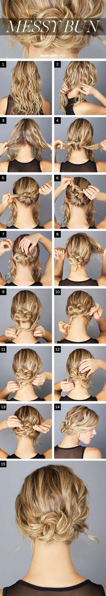 両サイドの髪を残し(2)、まず二つに分けた後ろの毛を紐を結ぶ要領で交差させます(4)。その毛先をまた結び、さらに結び・・・と繰り返し、結ぶ部分がなくなったらピンで留めて固定ます(7)。続いて両サイドに残しておいた髪を、先ほどつくったシニヨンの下で同じように結んでいき、最後はピンで留めバランスを整えて完成。 ルーズな雰囲気ながらも、手の込んだ女性らしいまとめ髪です。