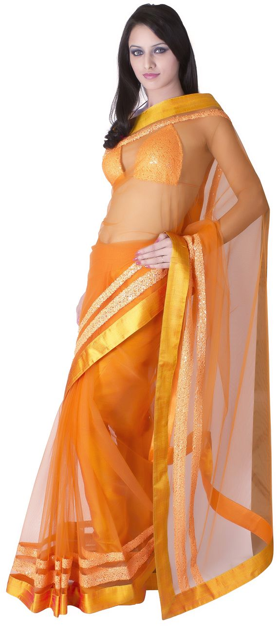 his neon orange net saree with orange dupian short silk border is accentuated with neon orange double sequin border running on parallel sides of the saree.