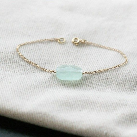 dainty gold chain and sea glass bracelet!