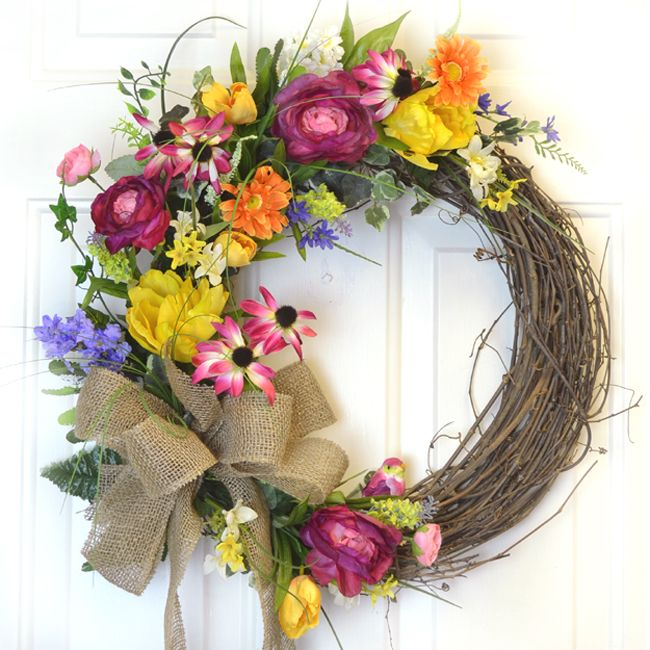 Flower Garden Silk Wreath with Tulips and Bird WR4784- Out of Stock - Click Image to Close