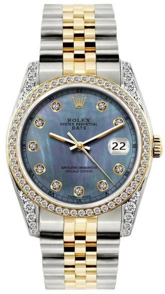 Rolex Date Blue Mother of Pearl Dial Stainless Steel & Yellow Gold 34mm Unisex Watch