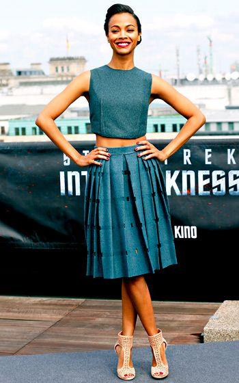 Lady-like crop top and skirt | Zoe Saldana